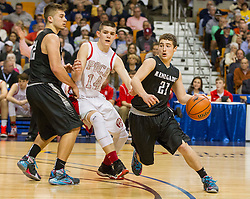 Westside's Josh Morgan (21) drives off a screen against Poca during a semi-final game at the Charleston Civic Center.