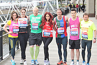 LONDON - April 17: Amanda Mealing, Kelly Sotherton, Iwan Thomas, Amy Childs, Andrew Strauss, James Toseland & Mike Bushell at the Virgin London Marathon - Celebrity Photocall (Photo by Brett D. Cove)