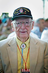 06 June 2014. The National WWII Museum, New Orleans, Lousiana. <br /> WWII veteran Pfc Paul Madden, Company A, 379th Regiment, 95th Division, 3rd Army is honored with the French Legion of Honor medal.<br /> Photo; Charlie Varley/varleypix.com