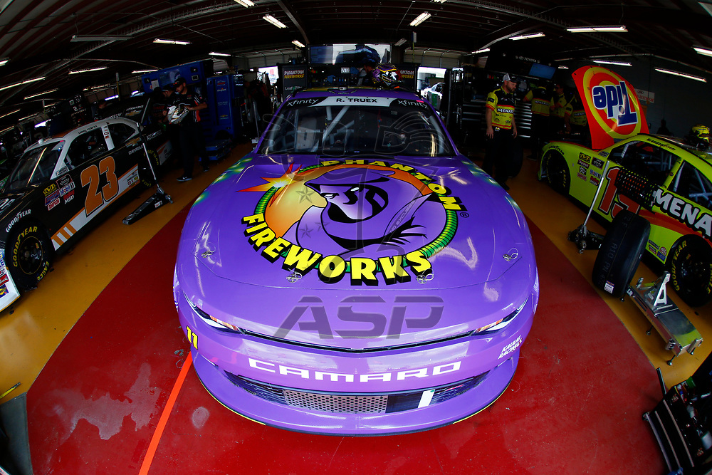 The car of Ryan Truex (11) sits in the garage before practice for the US Cellular 250 at Iowa Speedway in Newton, Iowa.