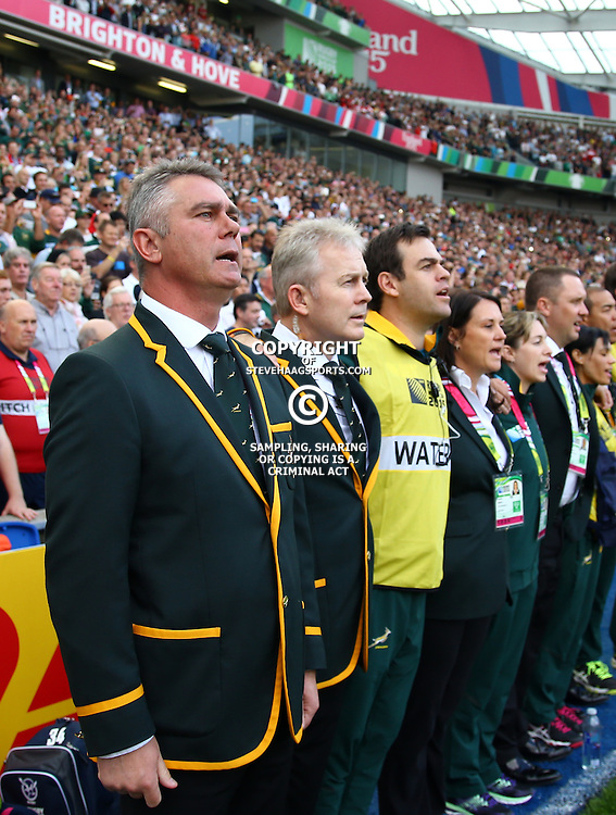 BRIGHTON, ENGLAND - SEPTEMBER 19:Heyneke Meyer (Head Coach) of South Africa during the Rugby World Cup 2015 Pool B match between South Africa and Japan at Brighton Community Centre on September 19, 2015 in Brighton, England. (Photo by Steve Haag/Gallo Images)