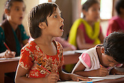 Young girl learning English at the Kopila Primary School in Surkhet, Nepal