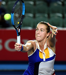HONG KONG, Oct. 16, 2017  Russia's Pavlyuchenkova Anastasia hits a return during the singles final match against Australia's Daria Gavrilova at 2017 WTA Hong Kong Tennis Open in Hong Kong, south China, Oct. 15, 2017. Pavlyuchenkova Anastasia claimed the title with 2-1. (Credit Image: © Lo Ping Fai/Xinhua via ZUMA Wire)