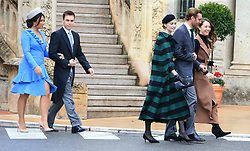 Louis Ducret, Marie Chevallier, Beatrice Borromeo, Pierre Casiraghi and Princess Alexandra of Hanover. The royal family of Monaco going to the St. Nicholas Cathedral for the beginning of the National Day festivities on November 19th 2019.