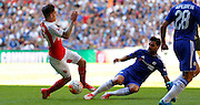 Cesc Fabregas challenging Hector Bellerin during the FA Community Shield match between Chelsea and Arsenal at Wembley Stadium, London, England on 2 August 2015. Photo by Michael Hulf.