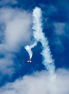 An acrobatic flight demonstration during the Paris Air Show.