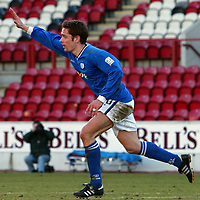 Clyde v St Johnstone...06.03.04<br />Paul Bernard celebrates his winner<br /><br />Picture by Graeme Hart.<br />Copyright Perthshire Picture Agency<br />Tel: 01738 623350  Mobile: 07990 594431