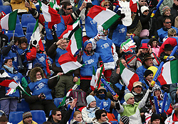Fans of Italy at 10th men`s slalom AUDI FIS Alpine Ski World Cup race in Kranjska Gora, Slovenia, ob March 9, 2008.  (Photo by: Vid Ponikvar / Sportal Images)
