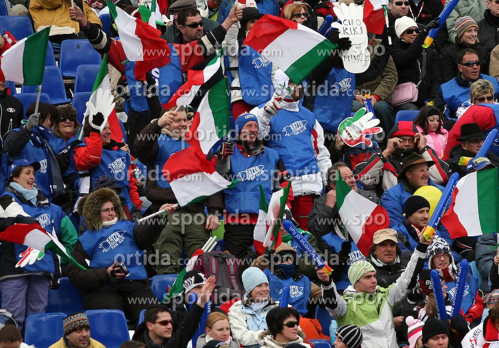 Fans of Italy at 10th men`s slalom AUDI FIS Alpine Ski World Cup race in Kranjska Gora, Slovenia, ob March 9, 2008.  (Photo by: Vid Ponikvar / Sportal Images)