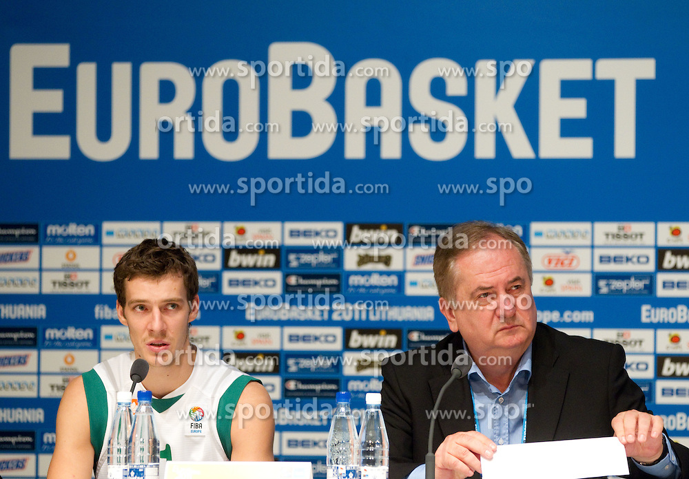 Goran Dragic of Slovenia and Bozidar Maljkovic, coach of Slovenia during press conference after the basketball game between National basketball teams of Slovenia and Serbia in 7th place game of FIBA Europe Eurobasket Lithuania 2011, on September 17, 2011, in Arena Zalgirio, Kaunas, Lithuania. Slovenia defeated Serbia 72 - 68 and placed 7th. (Photo by Vid Ponikvar / Sportida)