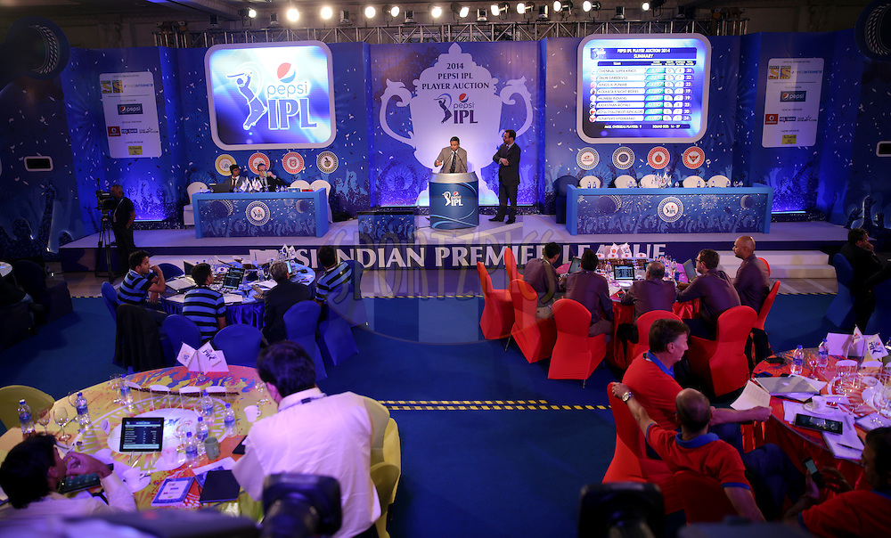 Genral View of Setting Area during the Pepsi IPL Player Auction held at the ITC Gardenia in Bengaluru, India on the 13th February 2014<br /> <br /> Photo by Sandeep Shetty/BCCI/SPORTZPICS