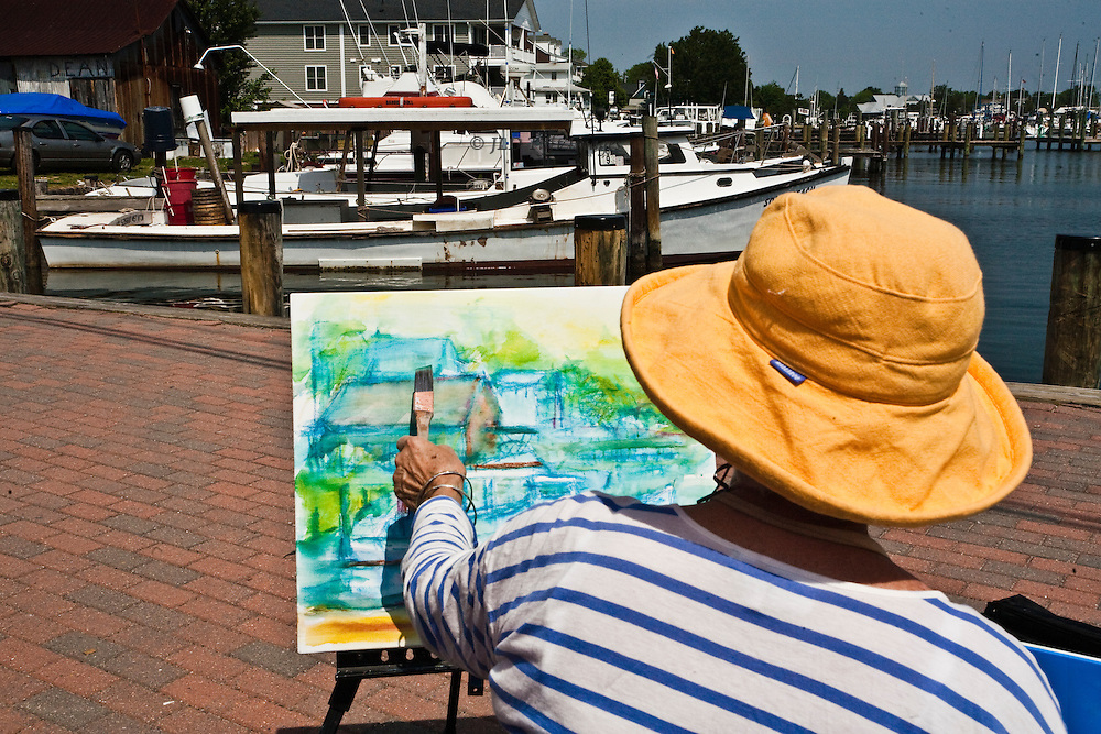 Views of the harbor, town, Thomas Jefferson Bridge, and painters of the Mid-Atlantic Plein Air Painters' Association at work during a weekend event.