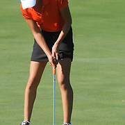 Oklahoma State's Alexis Sadeghy putts Sunday October 26, 2014 during the 13th annual Landfall Tradition in Wilmington, N.C. (Jason A. Frizzelle)
