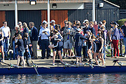 Henley, GREAT BRITAIN,  Oxfords' Lightweight women return to Upper Thames Boathouse after their race.  2012 Henley Boat Races, Raced on Henley Reach, Henley on Thames, England, Sunday  25/03/2012. [Mandatory Credit, Peter Spurrier/Intersport-images