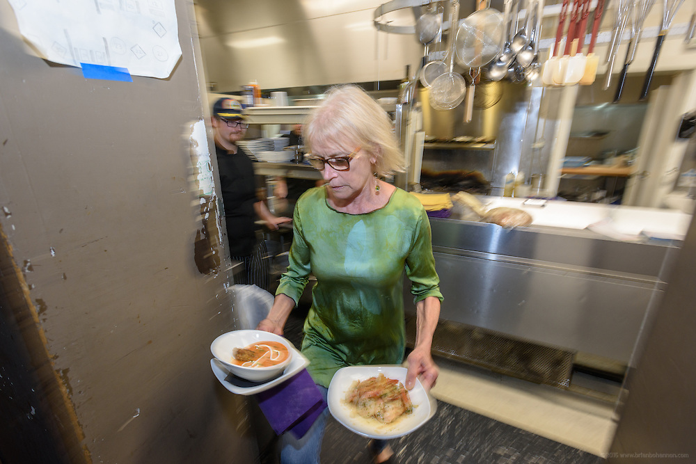 In the kitchen during dinner at Lilly's, Wednesday, Aug. 17, 2016 with Chef/Owner Kathy Cary's staff. (Photo by Brian Bohannon)