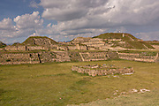 The Grand Plaza looking west of Monte Albán pre-Columbian archaeological site in the Santa Cruz Xoxocotlán, Oaxaca, Mexico.