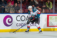 KELOWNA, CANADA - FEBRUARY 6: Leif Mattson #28 of the Kelowna Rockets skates with the puck against the Spokane Chiefs on February 6, 2019 at Prospera Place in Kelowna, British Columbia, Canada.  (Photo by Marissa Baecker/Shoot the Breeze)