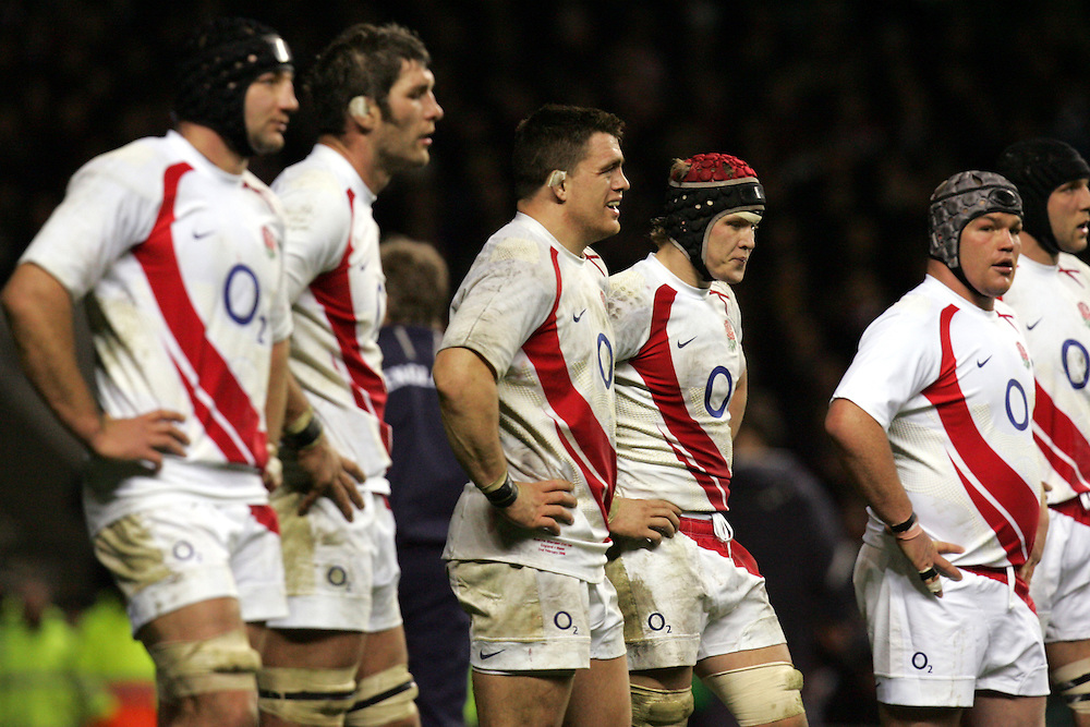 Dejected England players reflect after conceding a try. England v Wales, RBS Six Nations 2008, Twickenham, England, 2nd Feb 2008.