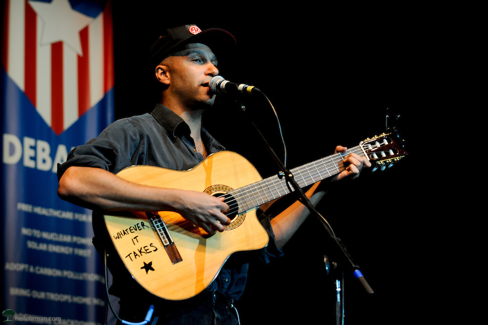 August 27, 2008 - Tom Morello of Rage Against the Machine performs in Denver, Colorado at a Super Rally during the DNC for presidential candidate Ralph Nader.