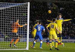 Lewis Dunk ( R ) of Brighton and Hove Albion scores to make it 4-0 - Mandatory byline: Paul Terry/JMP - 29/02/2016 - FOOTBALL - Falmer Stadium - Brighton, England - Brighton v Leeds United - Sky Bet Championship
