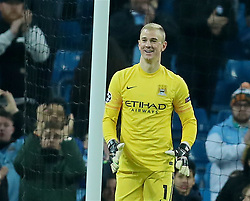 MANCHESTER, ENGLAND - Tuesday, March 15, 2016: Manchester City's goalkeeper Joe Hart celebrates reaching the Quarter-Finals after a goal-less draw and 3-1 aggregate victory over FC Dynamo Kyiv during the UEFA Champions League Round of 16 2nd Leg match at the City of Manchester Stadium. (Pic by David Rawcliffe/Propaganda)