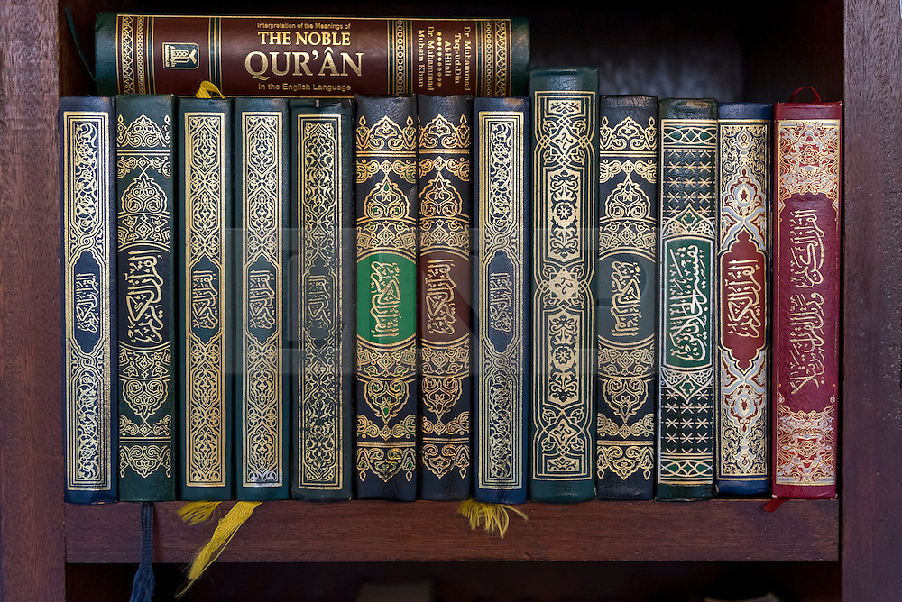 © Licensed to London News Pictures. 05/02/2017. London, UK. Prayer books are seen during an open day held at the Central London Mosque near Regent's Park.  Over 150 mosques across the UK have been encouraged to hold mosque open days as part of Visit My Mosque Day, a national initiative facilitated by the Muslim Council of Britain (MCB), showcasing how mosques are not only spiritual focal points, but also servants to their localities helping people of all faiths and none by running food banks, feed-the-homeless projects, neighbourhood street cleans, local fundraising and more. Photo credit : Stephen Chung/LNP