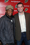 l to r: Sway and Chris Brown(Bounty) at The Rush Philanthropic 10th Annual Youth Annual Hoiliday Party sponsored by Bounty and held at the Fillmore New York at irving Plaza on December 10, 2009 in New York City.