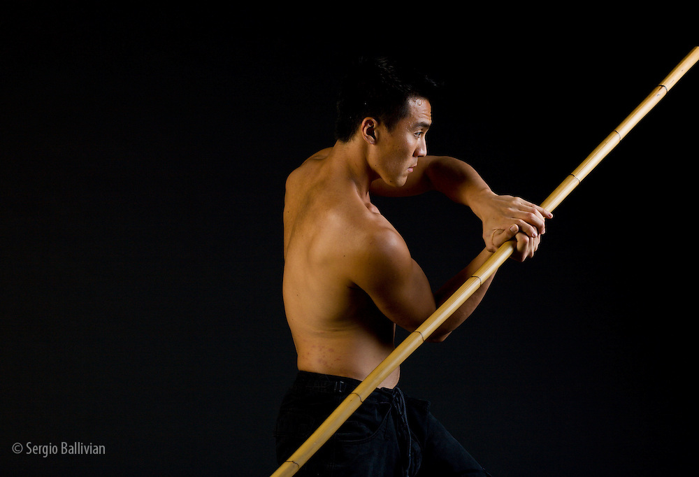 Zero Kazama practices martial arts in a studio in order to stay in shape.  His passion for martial arts comes with his Asian ancestry and his love of a respected tradition.