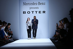 July 3, 2018 - Berlin, Berlin-Mitte, Germany - Berlin: The photo shows the designers of Botter on the catwalk. (Credit Image: © Simone Kuhlmey/Pacific Press via ZUMA Wire)