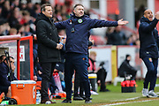 Forest Green Rovers manager, Mark Cooper and Forest Green Rovers assistant manager, Scott Lindsey during the EFL Sky Bet League 2 match between Stevenage and Forest Green Rovers at the Lamex Stadium, Stevenage, England on 26 January 2019.