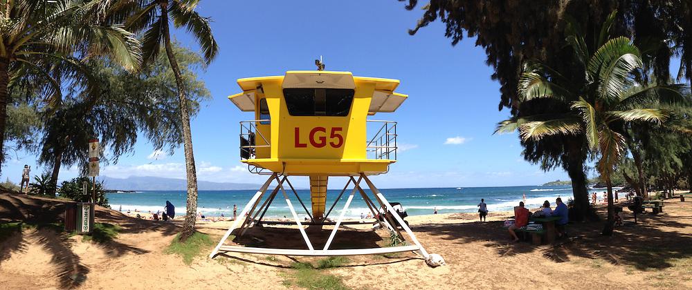Life Guard Station at D.T. Fleming Beach Park, Kapalua, Maui, Hawaii, US
