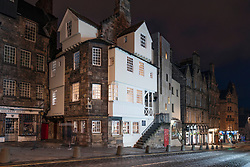 Night view of John Knox house on the Royal Mile in Edinburgh Old Town, Scotland, UK