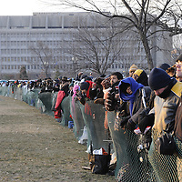 Part of a very larger crowd surges against the plastic fence in the Sliver standing area prior to the swearing in of Barack Obama as the 44th President of the United States of America during his Inauguration Ceremony on Capitol Hill in Washington on January 20, 2009.    The crowds eventually over ran the fencing in an attempt to get closer to the U.S. Capital for the inauguration ceremonies. (Mark Goldman/ Goldmine Photos)