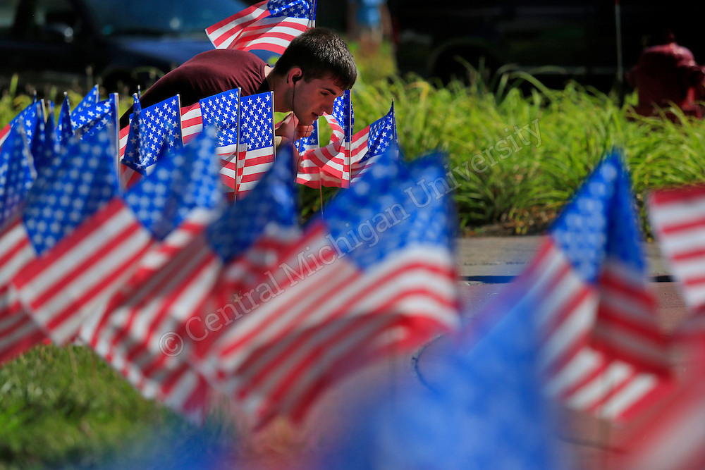 SEPTEMBER 10, 2013-- Greek fraternity members of Phi Kappa Tau, including Charles Paape, Bath junior, decorate the area in front of the University Center on the CMU campus with 441 flags in honor of those firefighters and police officers that lost their lives on 9-11. Photo by Steve Jessmore