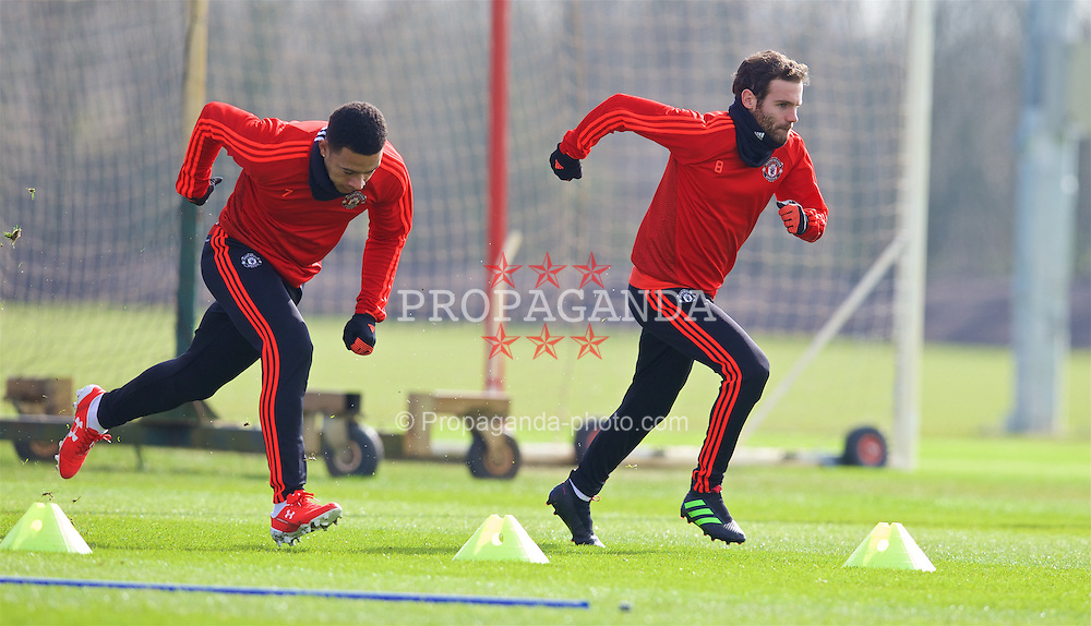 MANCHESTER, ENGLAND - Wednesday, March 16, 2016: Manchester United's Memphis Depay and Juan Mata during a training session at Carrington Training Ground ahead of the UEFA Europa League Round of 16 2nd Leg match against Liverpool. (Pic by David Rawcliffe/Propaganda)