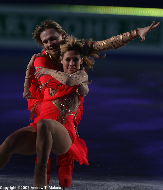 TOKYO - MARCH 25: Albena Denkova and Maxim Staviski of Bulgaria performs in an exhibition program during at the World Figure Skating Championships at the Tokyo Gymnasium on March 25, 2007 in Tokyo, Japan. (Photo by Andrew T. Malana)..