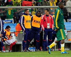 The French Bench during the 2010 World Cup Soccer match between South Africa and France played at the Freestate Stadium in Bloemfontein South Africa on 22 June 2010.
