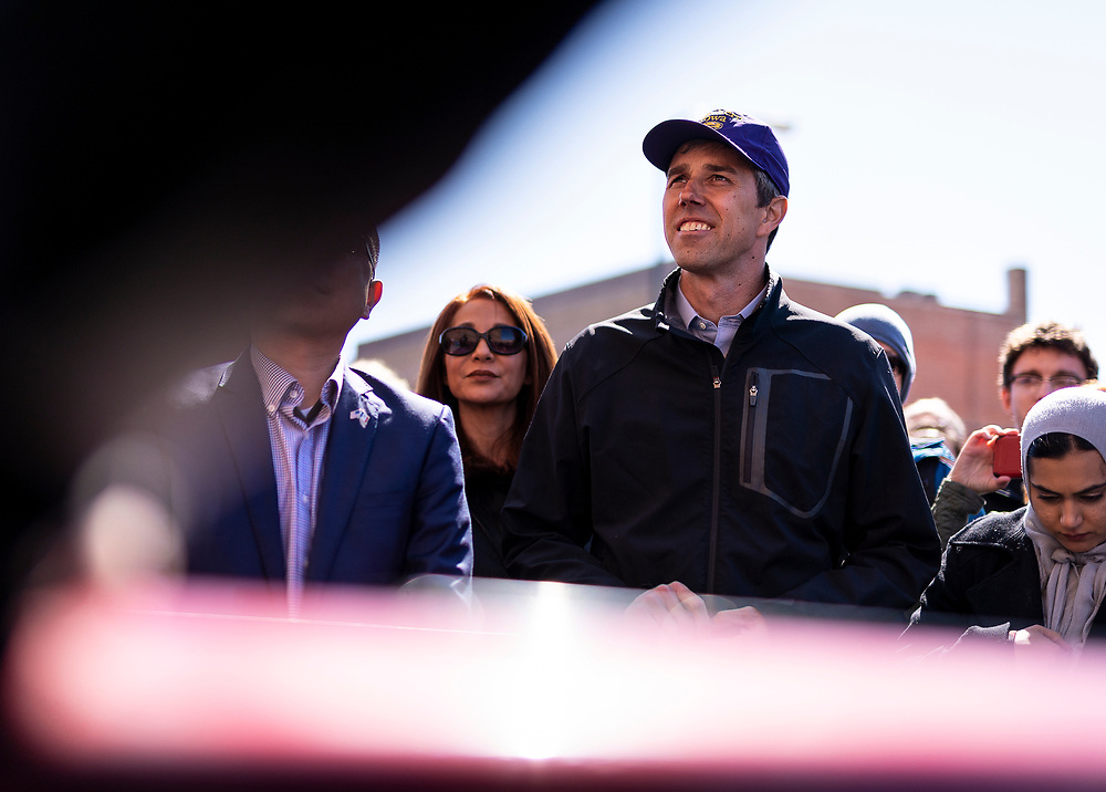 Democratic 2020 presidential candidate Beto O'Rourke, 46, looks on before speaking with supporters during a three day road trip across Iowa, in Waterloo, Iowa, U.S., March 16, 2019.  REUTERS/Ben Brewer