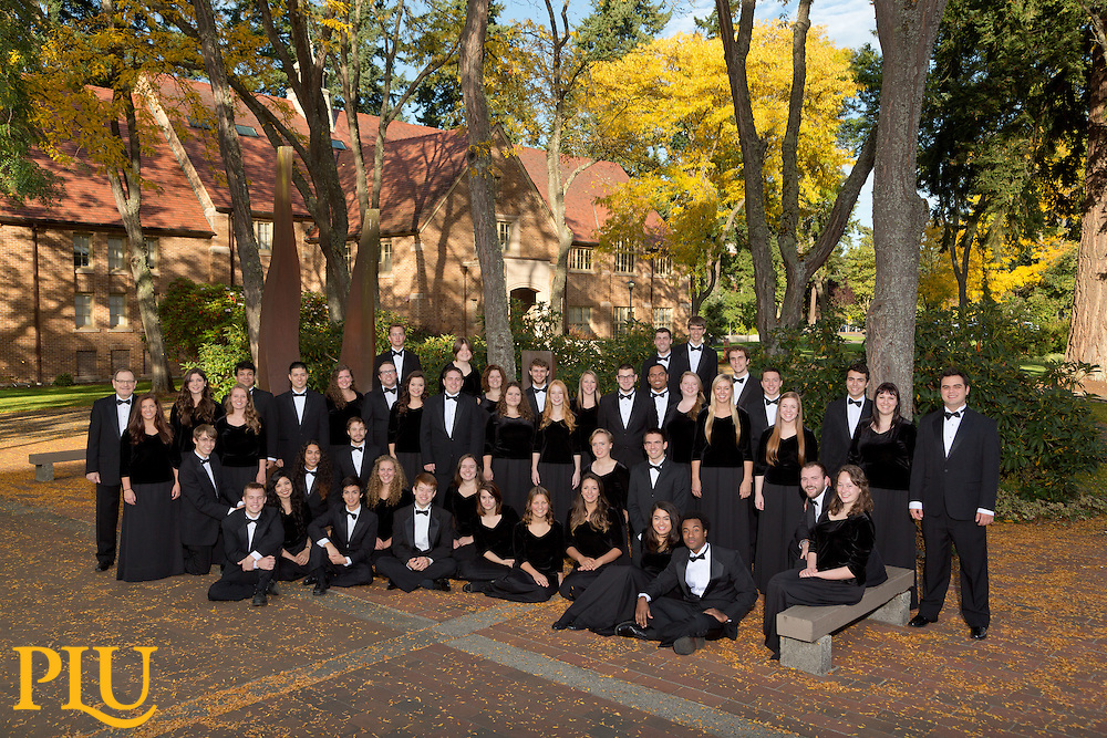 Choir of the West in Red Square with Xavier behind at PLU on Wednesday, Oct. 8, 2014. (PLU Photo/John Froschauer)