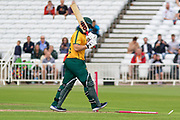 WICKET - Ben Duckett is bowled by Gavin Griffiths during the Vitality T20 Blast North Group match between Notts Outlaws and Leicestershire Foxes at Trent Bridge, West Bridgford, United Kingdon on 27 July 2019.