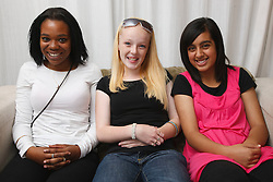 Multiracial group of teenage girls.