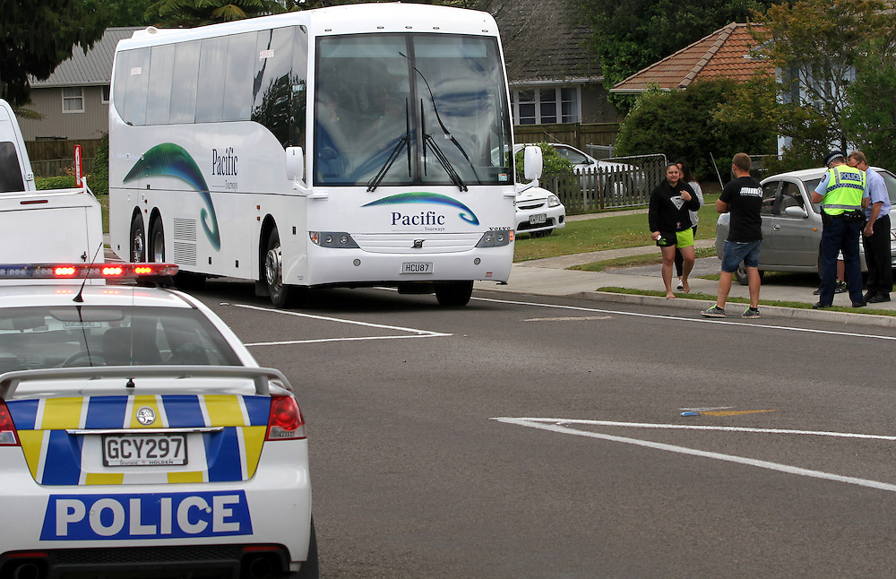 A pedestrian was seriously injured on Old Taupo Road when hit by a bus, Rotorua, New Zealand, Saturday, November 30, 2013. Credit; SNPA / Peter Graney