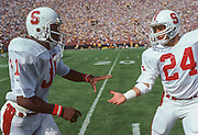 COLLEGE FOOTBALL: Stanford v UCLA, Oct 1980, Los Angeles Coliseum, Los Angeles, California.  Darrin Nelson #31 and Mike Dotterer #24.