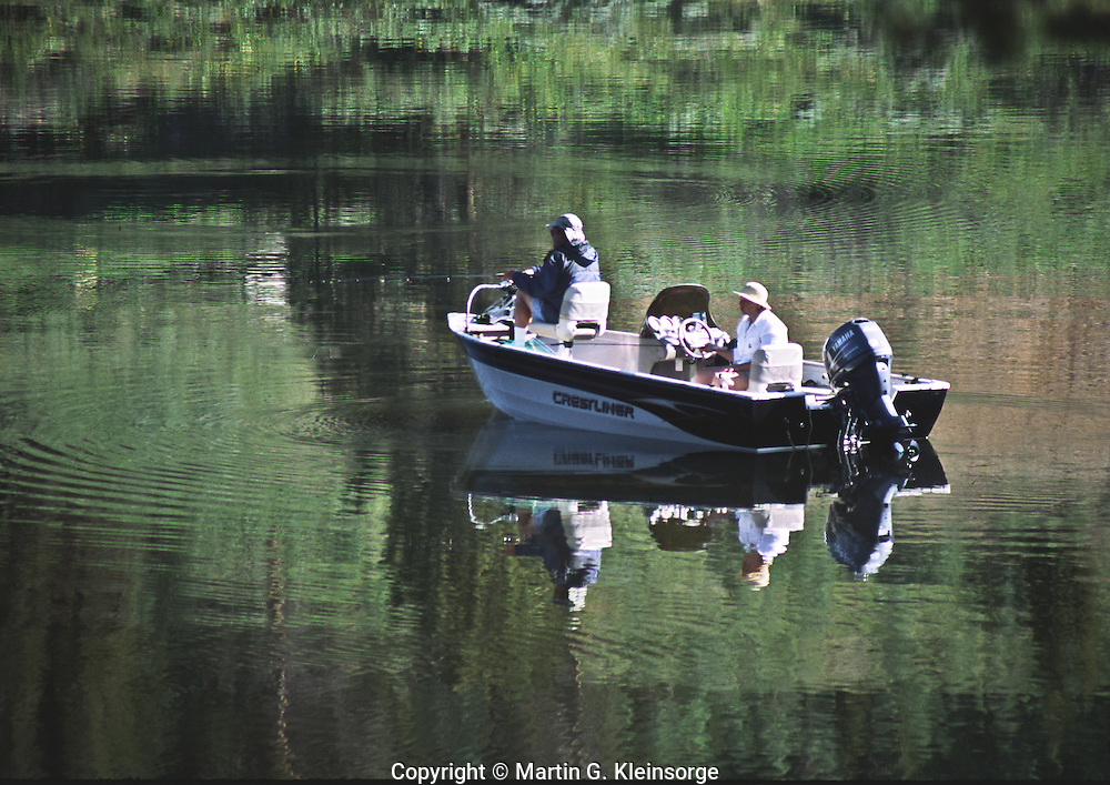 Fishing is a popular activity at Michigan Reservoir at Colorado State Forest State Park, Colorado.
