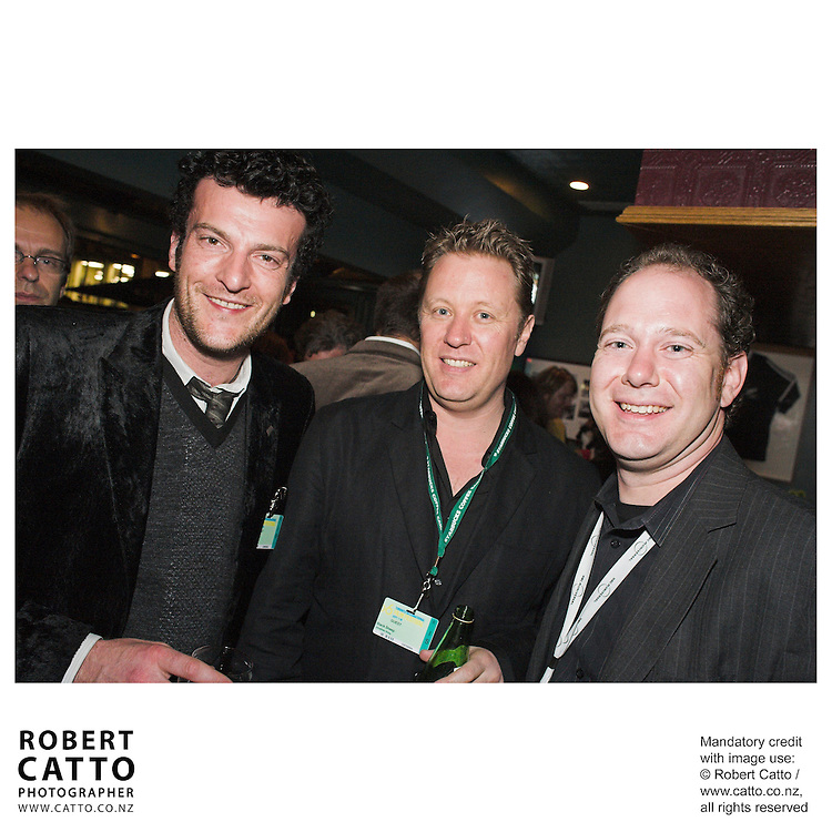 Oliver Driver;Colin Geddes;Jonathan King at the Toronto International Film Festival 2006 at the Shotover Bar, Yorkville, Toronto, Ontario, Canada.