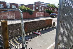 The section of a car park where it is alleged a group of youths often congregate, the scene of a knife fight that left four teenagers injured on the Elmington Estate, between Marvell House and Landor House. London, August 17 2018.