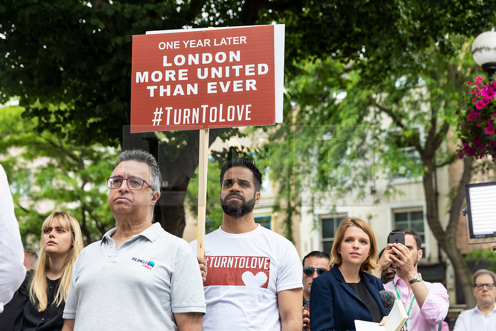 © Licensed to London News Pictures. 19/06/2018. London, UK.  Members of the public join a minute's silence on the steps of Islington Town Hall to mark the first anniversary of the Finsbury Park Attack. Photo credit: Rob Pinney/LNP