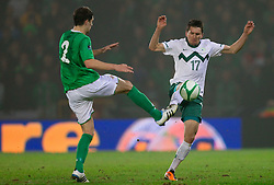 Craig Cathcart of Northern Ireland vs Andraz Kirm of Slovenia during EURO 2012 Quaifications game between National teams of Slovenia and Northern Ireland, on March 29, 2011, in Windsor Park Stadium, Belfast, Northern Ireland, United Kingdom. (Photo by Vid Ponikvar / Sportida)