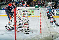 KELOWNA, CANADA - FEBRUARY 18: Connor Ingram #39 of Kamloops Blazers misses a save against the Kelowna Rockets on February 18, 2015 at Prospera Place in Kelowna, British Columbia, Canada.  (Photo by Marissa Baecker/Shoot the Breeze)  *** Local Caption *** Connor Ingram;