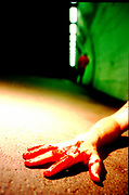 Mock up of a bloody knife attack, dark underpass in North London. <br /> 12/8/2003